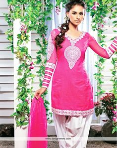 Occasion	Party Wear Collection	 Punjabi Suit Color	Pink,Off white Fabric	Cotton Silk Work	Embroidered Season	Any Weight	1 K.G