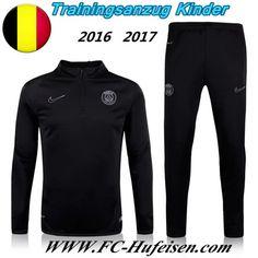 Schönsten Neue Fußball Trainingsanzug PSG Kinder Kits Schwarz 2016 2017 Meaney -02