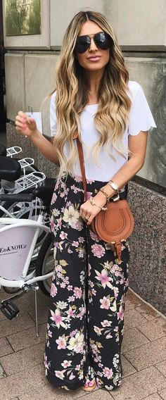 #spring #outfits White Tee + Black Floral  Pants + Brown Leather Shoulder Bag
