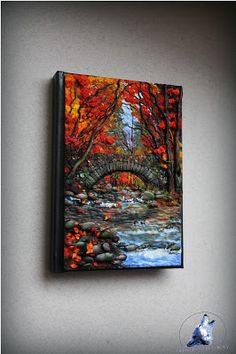 Polymer clay cover, notebook/ journal cover Autumn by the stream Polymer Clay Kunst, Polymer Clay Projects, Polymer Clay Creations, Notebook Covers, Journal Covers, Polymer Journal, Clay Design, Clay Tutorials, Cold Porcelain