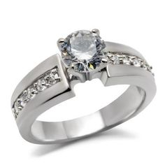 Women's 1 CT Silver Stainless Steel Cubic Zirconia Engagement Ring Size 5 - 10 #MaiJewelryShop #SolitairewithAccents