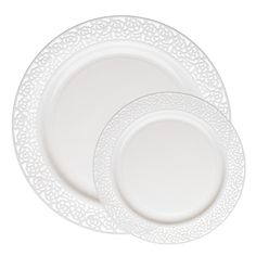 Lace White Plastic Dinnerware Value Pack by SmartyAHadAParty.com!  sc 1 st  Pinterest & Wedding Party Disposable Plastic Plates and cutlery u0026 wine cups w ...