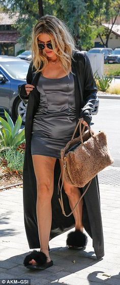 Khloe Kardashianwears silk negligee and slippers to studio