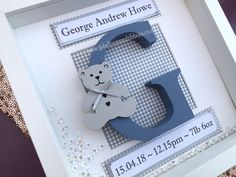 Shadow box frame with hand painted initial and those all important dates & weight. A beautiful gift for baby's nursery. Painted Initials, Wooden Initials, Hand Painted, Christening Frames, Baby Boy Christening, Newborn Baby Girl Gifts, Diy Baby Gifts, Baby Boy Birth Announcement, Boy Box