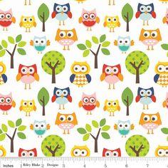 Lazy Day Owls on White from Riley Blake de DinoFabric por DaWanda.com