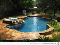 15 Fabulous Swimming Pool with Spa Designs - Home Design Lover Spa Design, House Design, Design Ideas, Form Design, Jacuzzi, Little Pool, Hot Tub Garden, Garden Pool, Beautiful Pools