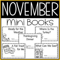 This November Mini Book resource is perfect for kindergarten students learning to read. This November themed pack includes five mini-books that are simple to read with predictable text and high picture support. This group includes Ready for the Weather, Thanksgiving Dinner, A Fall Treat for Me, What Can We See?, and Where Is the Turkey? Students love these simple mini books created with fun, related themes. Great for kinder reading centers and language arts practice. #autumn #kindergarten