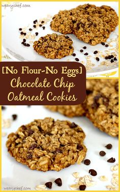 Chocolate Chip Oatmeal Cookies with No Flour and No Egg! #glutenfree #dessert