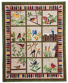 Backyard Birds: 12 Quilt Blocks to Appliqué from Piece O' Cake Designs by Becky Goldsmith & Linda Jenkins #backyardbirds #Birds