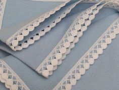 Bluish Cotton Flannel Baby Blanket Dots White by VirgoCottonLinen