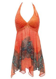 Orange Printed Halter Open Back Flowy Swimdress