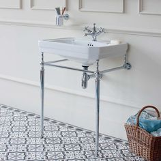 Buy Burlington Victorian Basin with Regal Chrome Wash Stand, Wide, 3 Tap Hole Online Victorian Bathroom Sinks, Parisian Bathroom, Bathroom Basin, Bathroom Fixtures, Family Bathroom, Small Bathroom, Loft Bathroom, Bathroom Ideas, Bathroom Furniture