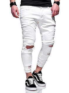 ea7b6e2483 Behype Men's Jeans Pants With Destroyed Effect and Ripped Knees JN-3605  (White,