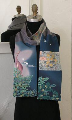 Silk Kimono Scarf, Amazing Japanese Vintage versitile scarf, Vintage Yuzen-dyed fabric, Manyoshu, Kiribame
