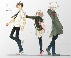 super dangan ronpa 2; Hinata, Nanami, and Komaeda
