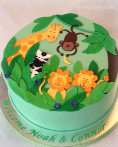 jungle baby shower cake #junglebabyshower