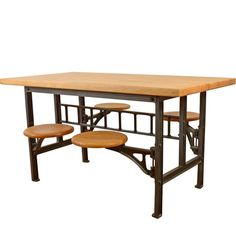 Maple and Iron 4-Seat Lab Table c1930  F5974