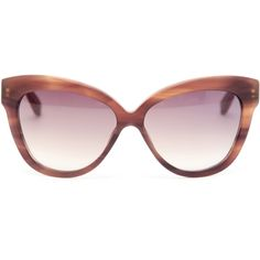 LINDA FARROW Matte Acetate Cat-eye Sunglasses ($490) ❤ liked on Polyvore featuring accessories, eyewear, sunglasses, glasses, tinted sunglasses, brown lens sunglasses, oversized cat eye glasses, acetate sunglasses and logo sunglasses