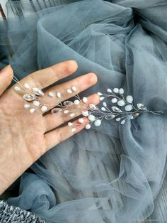Pearl Headpiece, Pearl Hair, Polymer Clay Flowers, Polymer Clay Earrings, Wedding Hair Pins, Wedding Jewelry, Hair Beads, Hair Vine, Handmade Polymer Clay