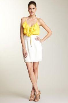 Single Dress, Ruffled Bodice Keyhole Dress
