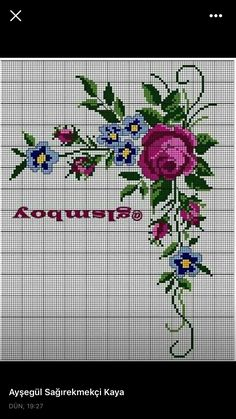 Güzel Cross Stitch Rose, Cross Stitch Flowers, Cross Stitch Patterns, Bargello, Rose Bouquet, Embroidery Designs, Needlework, Knitting, Crochet