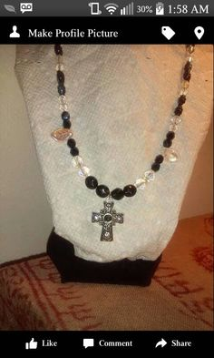 Czech Beads,Cross has glass bead and clear crystals,metal cross.