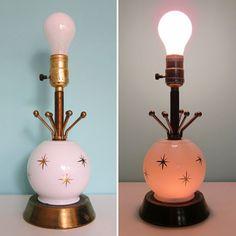 Vintage Atomic Bedside Lamp with Night Light