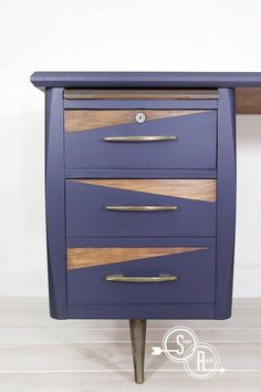 This desk by Scenic Route is so retro! Completed with General Finishes Coastal Blue Milk Paint