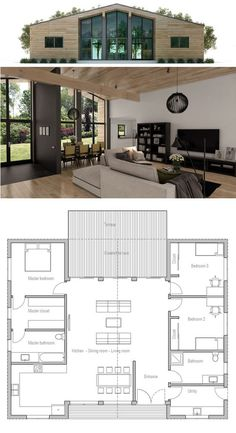 Small House Plan | except use entire right side for master suite, put laundry next to kitchen, then powder room, then guest room: