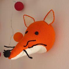 Trophée renard crocheté à la main en coton biologique : Décoration pour enfants par madebysissinou