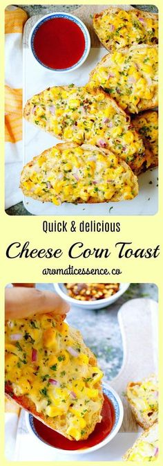 Cheese Corn Toast - a delicious white sauce based spread with the combination of cheese & corn spread over toast.