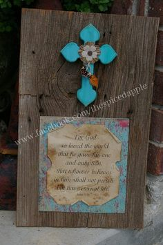 Rustic wooden wall decor with cross by The Spiced Apple.
