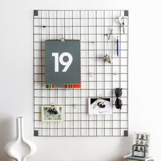 Wire Grid Memo Board - Grey - Trouva