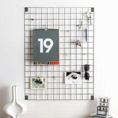 Wire Grid Memo Board - Grey - Trouva