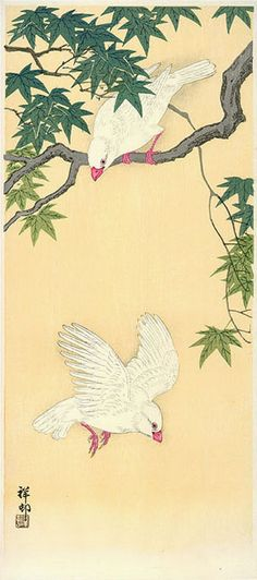hanga gallery . . . torii gallery: Two Rice Birds and Maple by Ohara Koson
