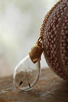Gold dandelion necklace make a wish real door RubyRobinBoutique