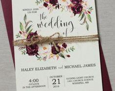 Rustic Navy Wedding Invitation Suite Modern by LoveofCreating