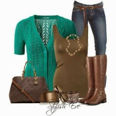 Blue cardigan, brown cardigan, jeans and high heels for fall. I don't usually like short-sleeve cardis, but this is really cute for spring or fall.