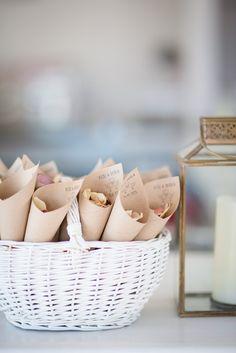 Cute little confetti cones at Elixir Shore Club - Ibiza, Spain. Summer Wedding Photography by Gypsy Westwood