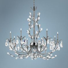 "Eurofase Giselle 25 1/4"" Wide Chrome Crystal Chandelier - 1390.00 ********** instead of drum/crystal? lamps plus"