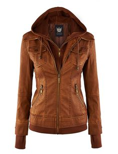 WJC664 Womens Faux Leather Jacket With Hoodie L Camel at Amazon Women's Coats Shop