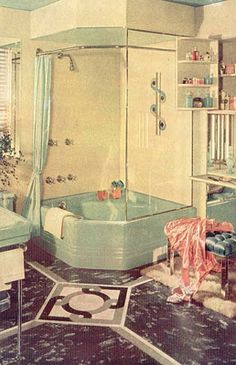 Love the garden tub shower combo. Maybe one day when we remodel my bathroom in a few years Tub Remodel, Shower Remodel, Casa Patio, Pot Jardin, 1920s House, Garden Tub, Vintage Bathrooms, Vintage Interiors, Retro Home