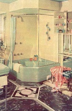 Love the garden tub shower combo. Maybe one day when we remodel my bathroom in a few years Tub Remodel, Shower Remodel, Art Deco Bathroom, Bathroom Ideas, Master Bathroom, Shower Ideas, Casa Patio, Retro Bathrooms, Pot Jardin