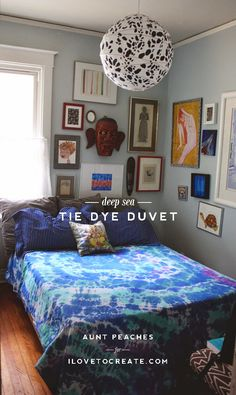 Love this Deep Sea Tie Dye Duvet project from Aunt Peaches! Peach Bedding, Aunt Peaches, Blue Bedspread, Tie Dye Bedding, Bedding Inspiration, Eclectic Decor, New Room, Bed Spreads, Luxury Bedding