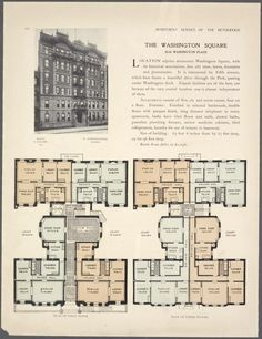 The Washington Square, Washington place; Plan of first floor; Plan of upper floors. Apartment Floor Plans, House Floor Plans, Penthouse Apartment, Washington Square, New York Public Library, City Living, Small Houses, Building Plans, Shelters