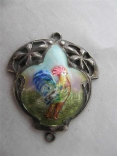 ANTIQUE 1909 BHAM EDWARDIAN STERLING SILVER & ENAMEL COCKERAL ROOSTER PENDANT