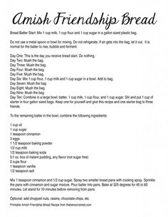 amish friendship bread instructions printable | Get the Printable Amish Friendship Bread Recipe (Digital Recipe below ...: