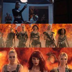 """Escenas del vídeo donde aparece ella en """"Bad Blood"""" ( la primera imagine es ella sol , la última es la tercera de la izquierda ) etc Julio estuvieron otras modelos y actrices"""