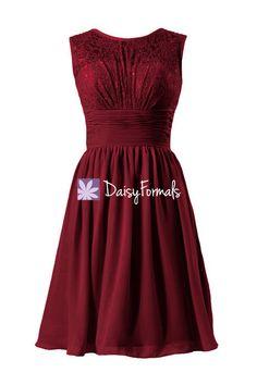 Dark Scarlet Lace Dress Vintage Bridesmaid Dress Short Lace & Mesh Party Dress (BM2529)