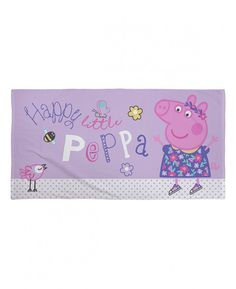 Whether you're by the beach, at the pool or using it at bath time, this fantastic Peppa Pig Happy towel is the perfect way to keep yourself warm and dry. Made from 100% cotton, this large towel has a soft velour feel and features a great image of Peppa in a pretty purple dress on a lilac background with the words Happy little Peppa, perfect for any little fans!